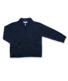 Cashmere Full Zip Sweater in Navy