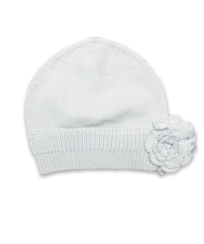 Luxury Cotton Flower Hat in White
