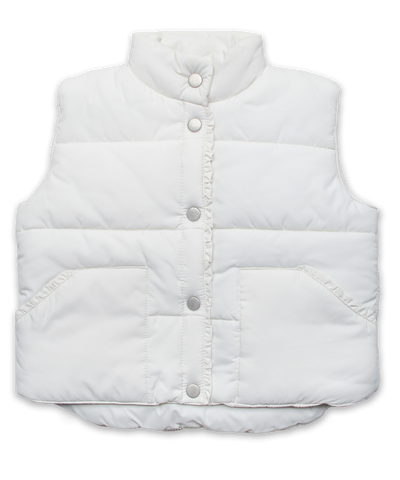 Quilted Vest with Ruffle in Creme