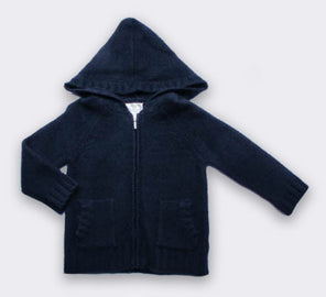 Cashmere Chunky Handknit Hoodie in Navy