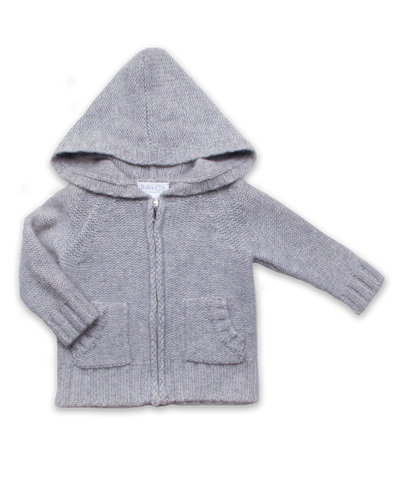 Cashmere Chunky Handknit Hoodie in Silver