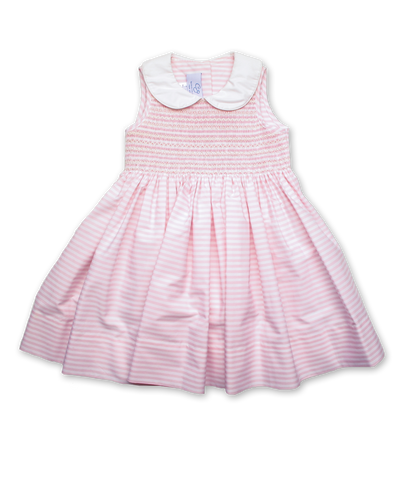 Hand Smocked  Eliza in Pink/White Stripe