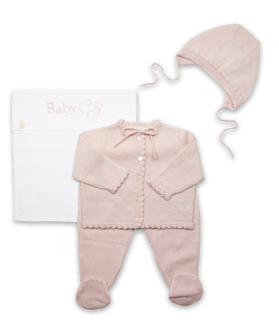 Cashmere Crochet Layette Set in Pink