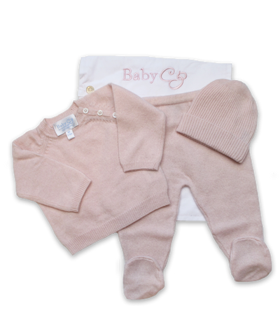 3 Piece Raglan Layette Set in Pink