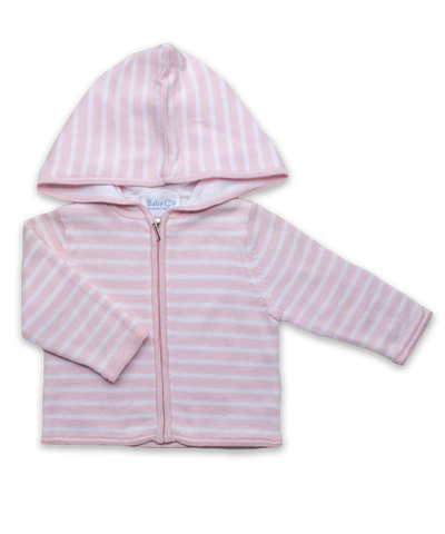 Striped Hoodie in Pink/White