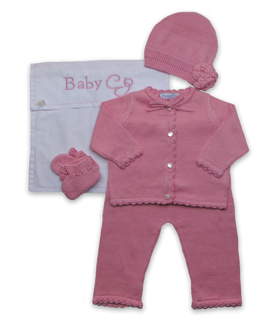Crochet Layette Set w/flower hat in Rose