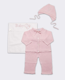 Cotton Crochet Layette Set in Pink