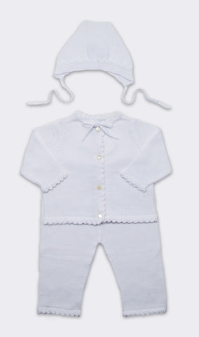 Cotton Crochet Layette Set in White