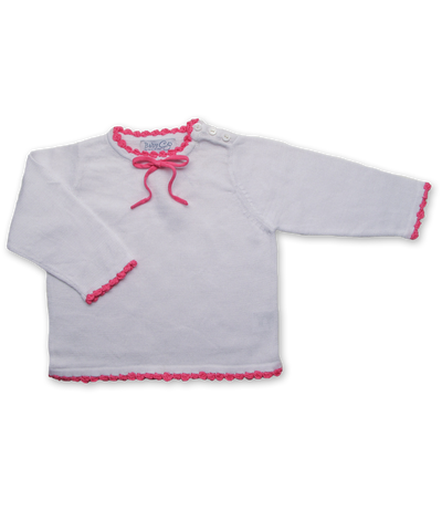 Crochet Trim Top in White/Raspberry