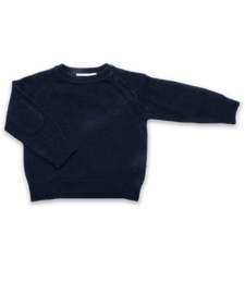 Cashmere Sweater with Patches in Navy
