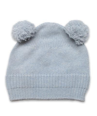 Cashmere Double Pom Hat in Blue