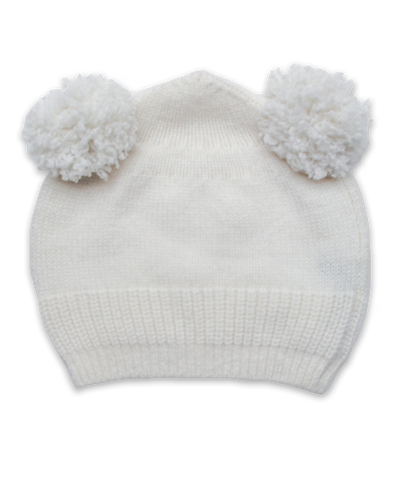 Cashmere Double Pom Hat in Creme