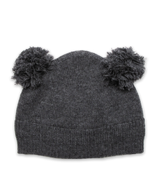 Cashmere Double Pom Hat in Derby Gray
