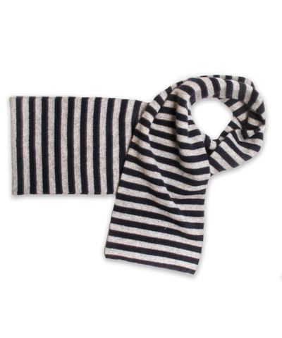 Cashmere Striped Scarf in Navy and Silver