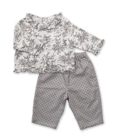 Gray Toile Top and Pant Set