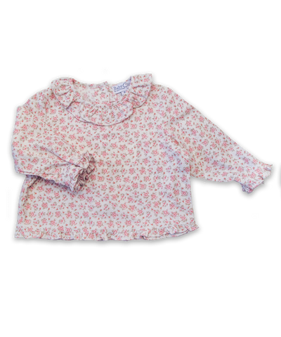 Ruffle Collar Blouse in Pink Floral