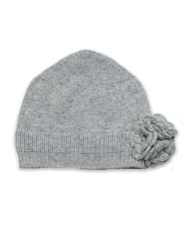 Cashmere Flower Hat in Silver