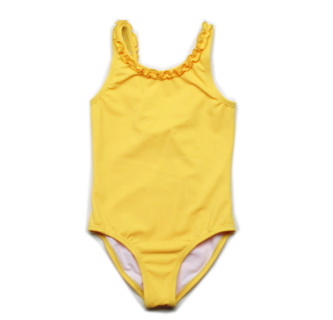 bathing suit with ruffle trim in yellow