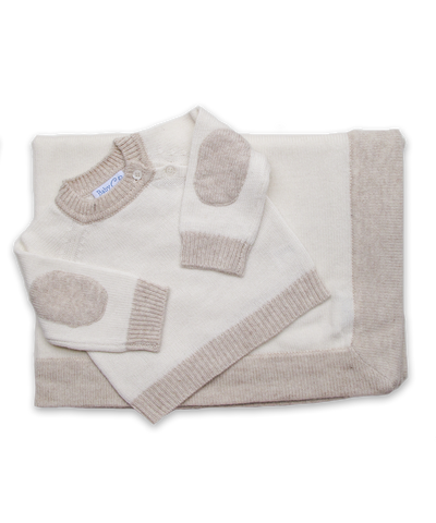 Cashmere Elbow Patch Sweater & Blanket Set