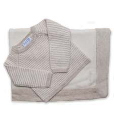 Cashmere Striped Sweater & Blanket Set