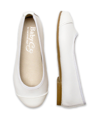 Girl's Mixed Ballet Flat in White