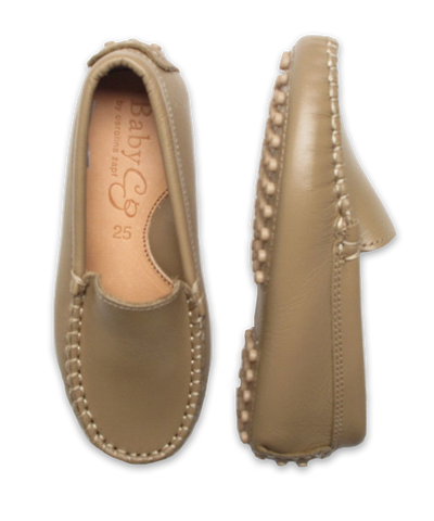 Boy's Leather Moccasin in Saddle