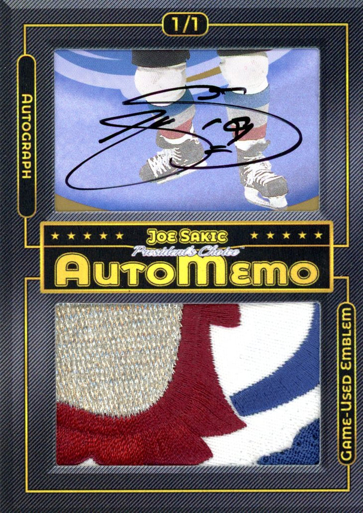 Joe Sakic 1/1 AutoMemo