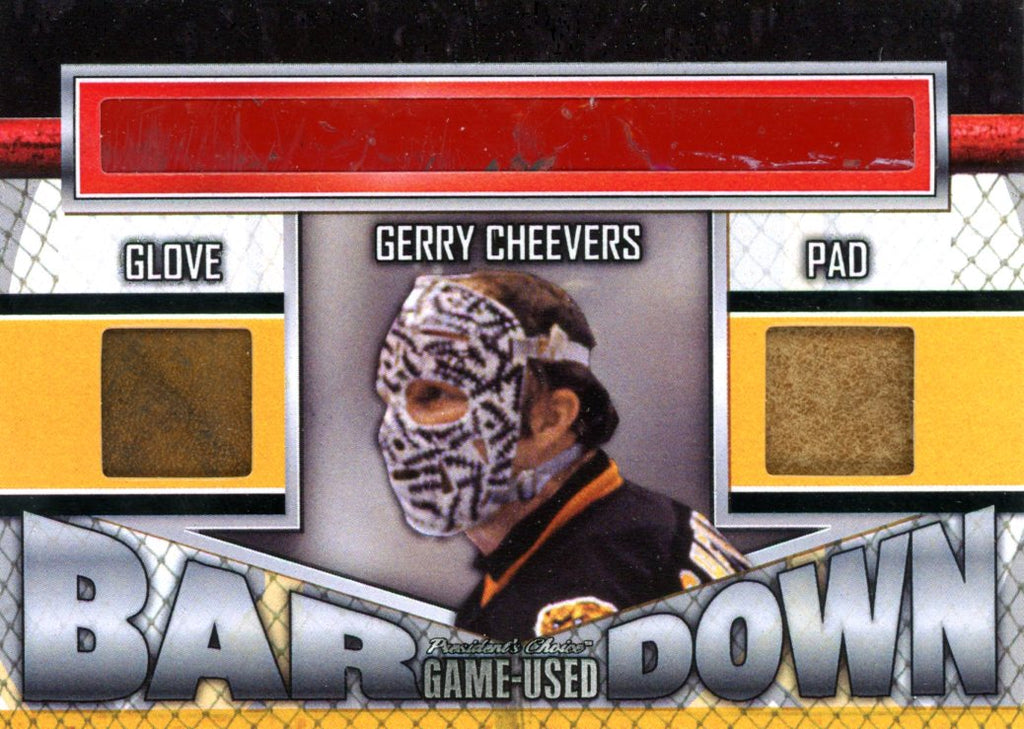 Gerry Cheevers Bar Down #'d 1/3