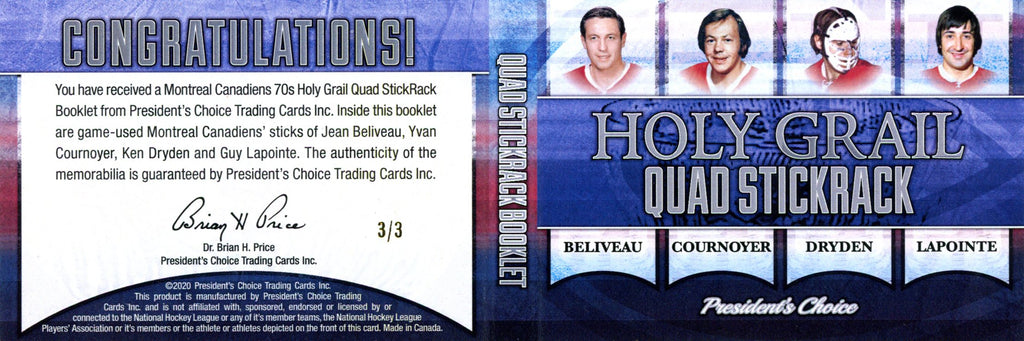 Montreal Canadiens 70s Holy Grail Quad StickRack Booklet 3/3