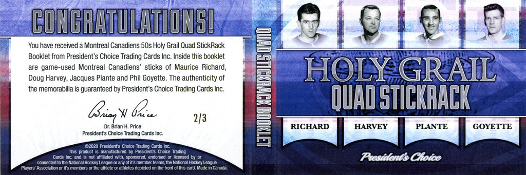 Montreal Canadiens 50s Holy Grail Quad StickRack Booklet 2/3