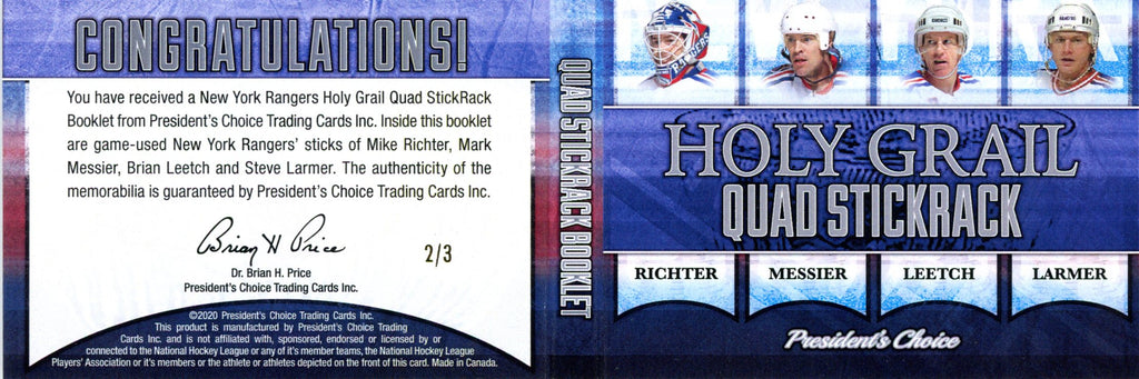 New York Rangers Holy Grail Quad StickRack Booklet 2/3