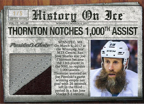 Joe Thornton Notches 1000th Assist /5
