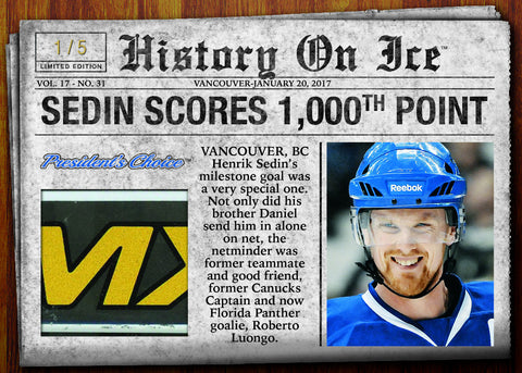 Henrik Sedin Scores 1000th Point /5