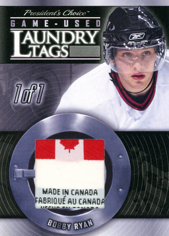 Bobby Ryan Laundry Tag #'d 1/1