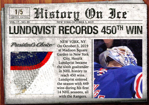 Henrik Lundqvist Records 450th Win /5