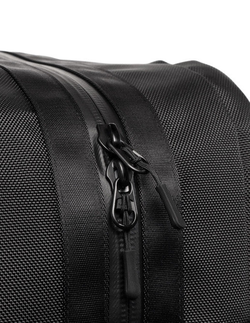 Detail of YKK zips on black Aer Duffel Pack rucksack