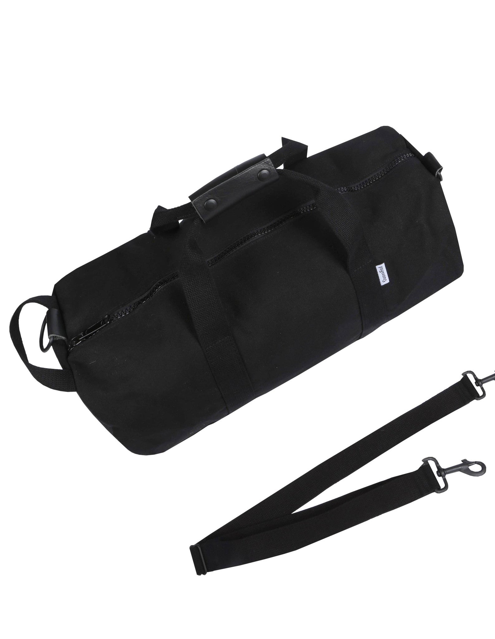 Top of of Black Work Hard, Play Hard canvas duffel bag by Owen & Fred