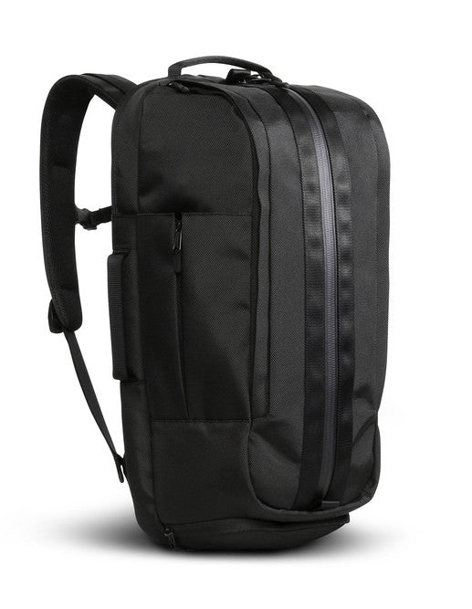 Side angle of black Aer Duffel Pack rucksack
