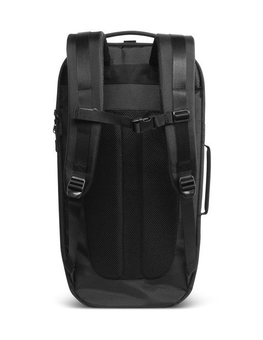 Back of black Aer Duffel Pack rucksack with padded straps and ventilated back