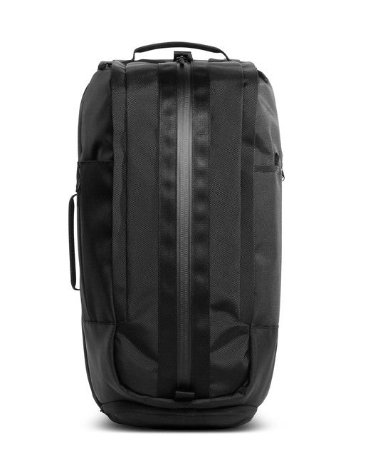 Front of black Aer Duffel Pack rucksack with side and top handles and YKK sealed zip