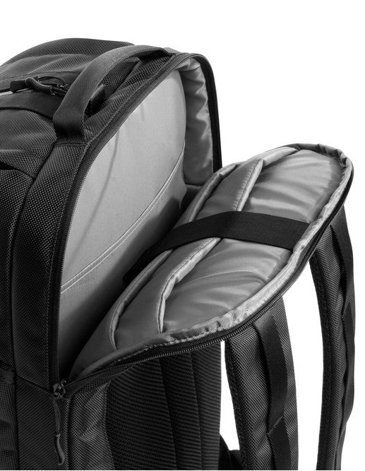 Padded laptop pocket of black Aer Duffel Pack rucksack