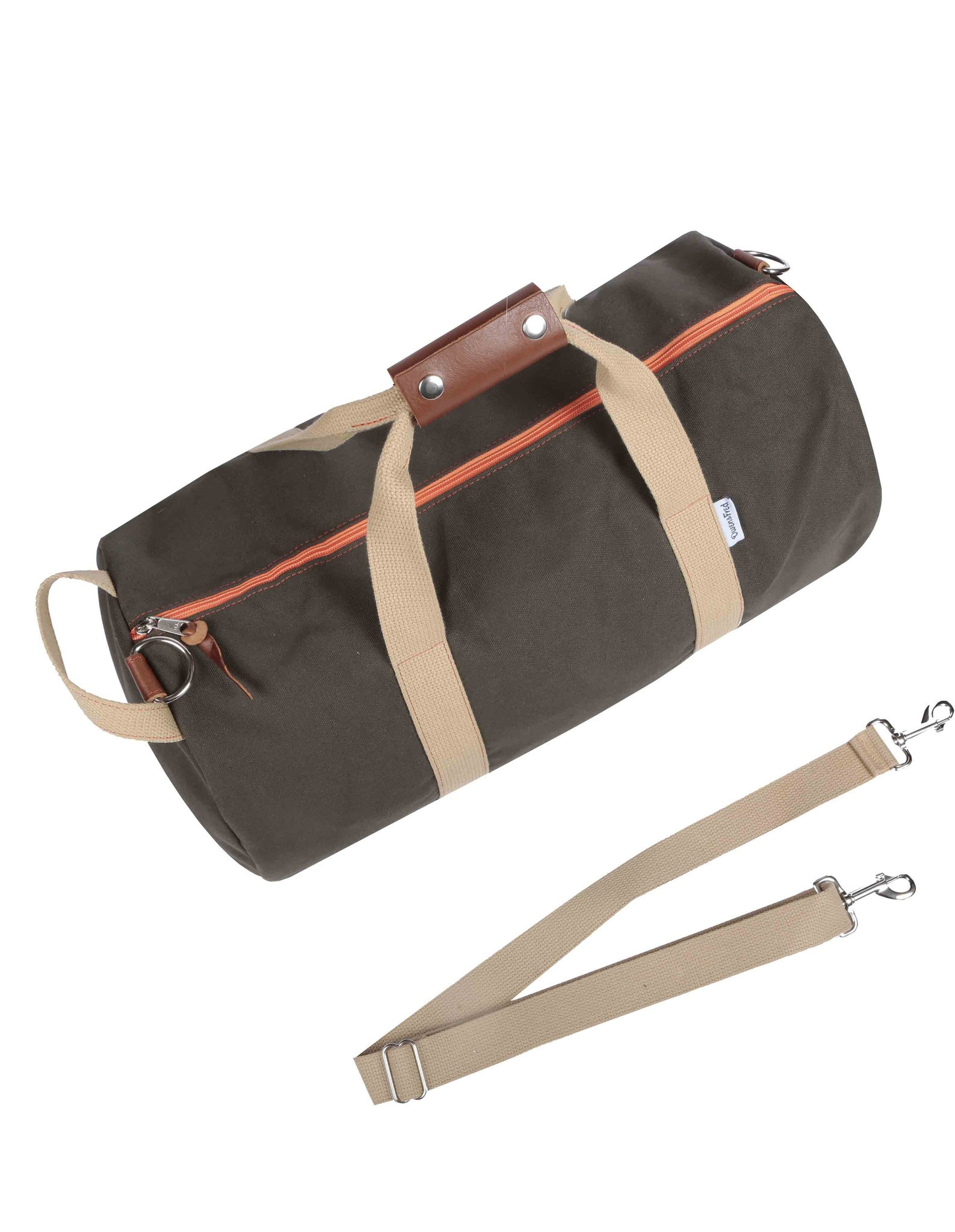 Top of Army Green Work Hard, Play Hard duffel bag by Owen & Fred