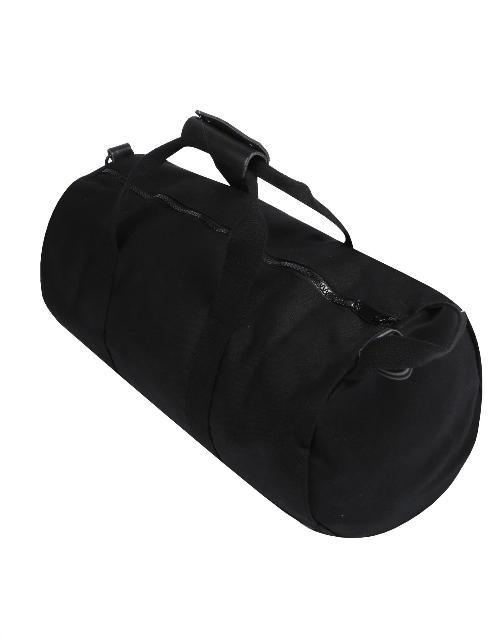 Side angle of Black Work Hard, Play Hard canvas duffel bag by Owen & Fred