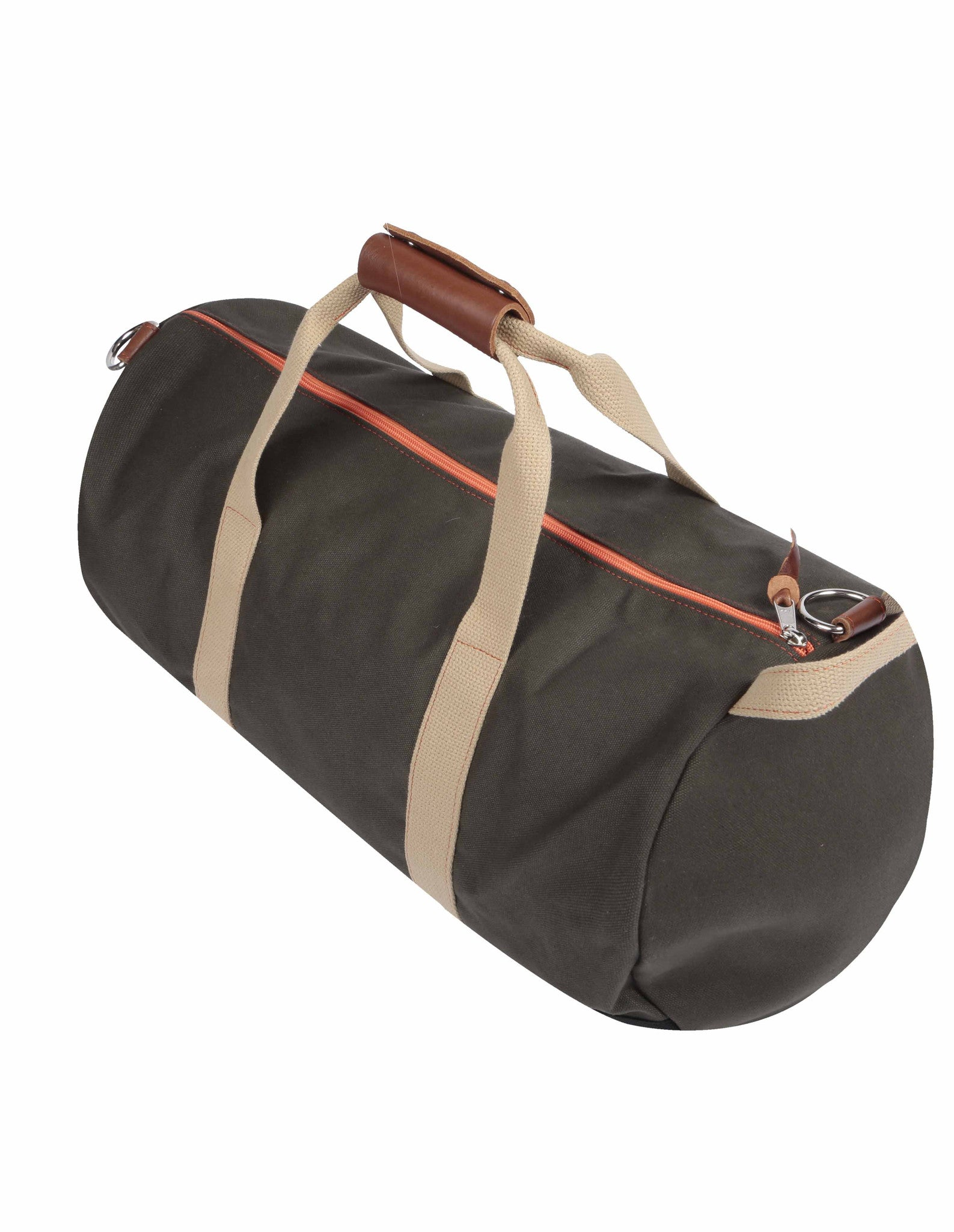 Angle of Army Green Work Hard, Play Hard duffel bag by Owen & Fred