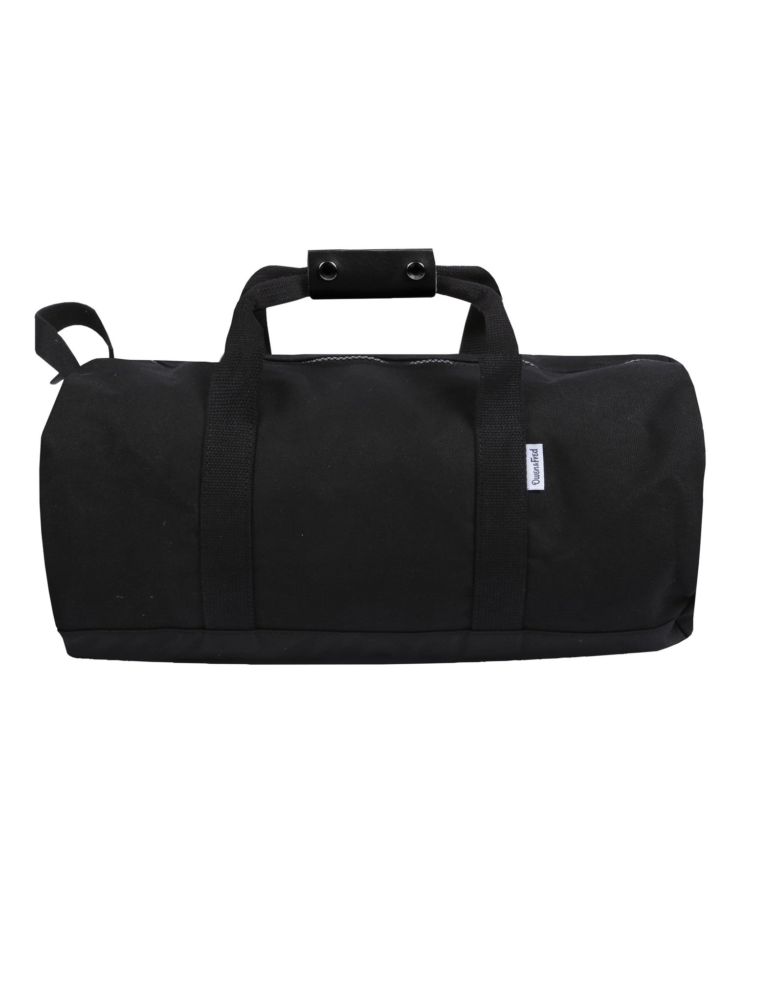 Side of Black Work Hard, Play Hard canvas duffel bag by Owen & Fred