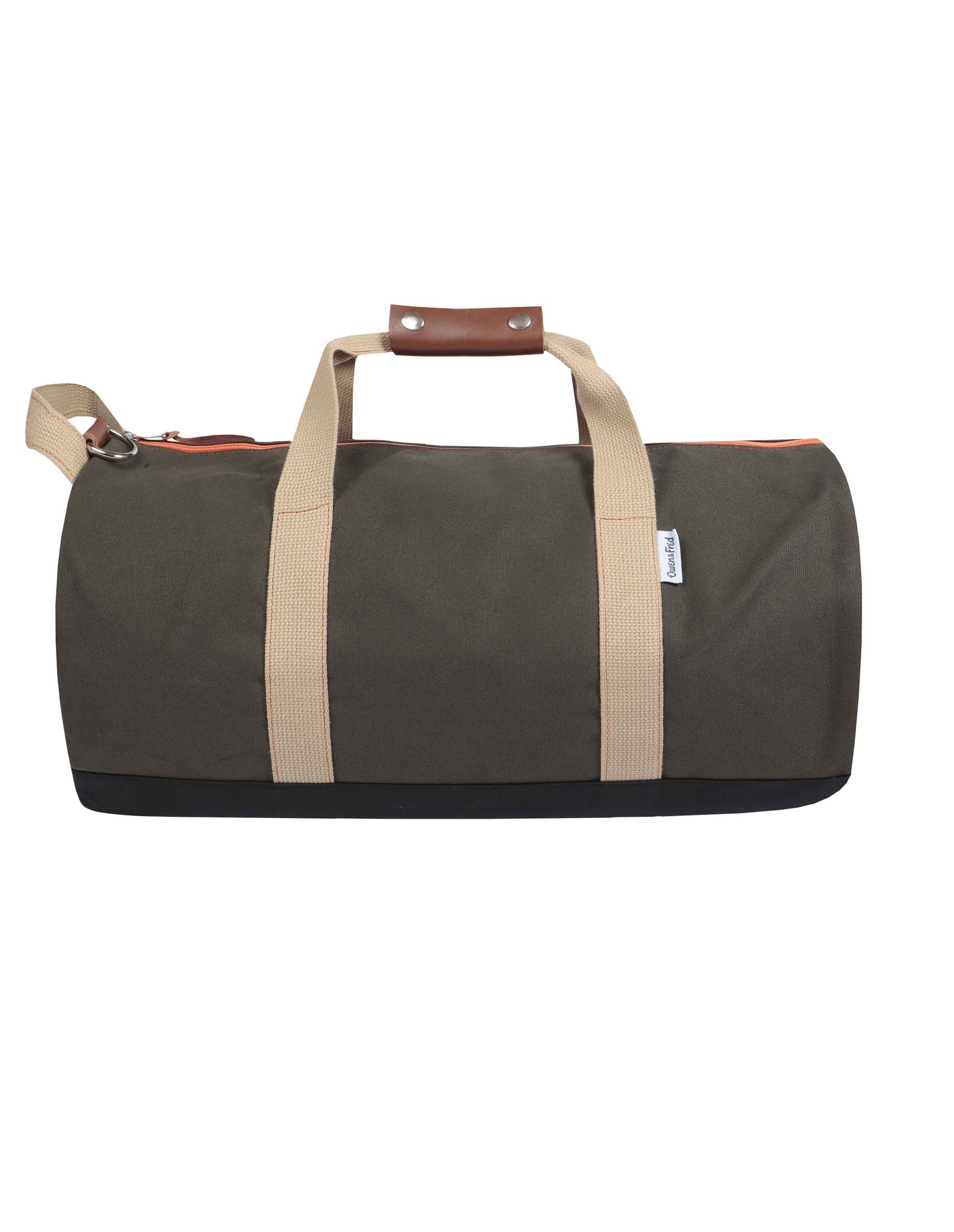 Side of Army Green Work Hard, Play Hard duffel bag by Owen & Fred