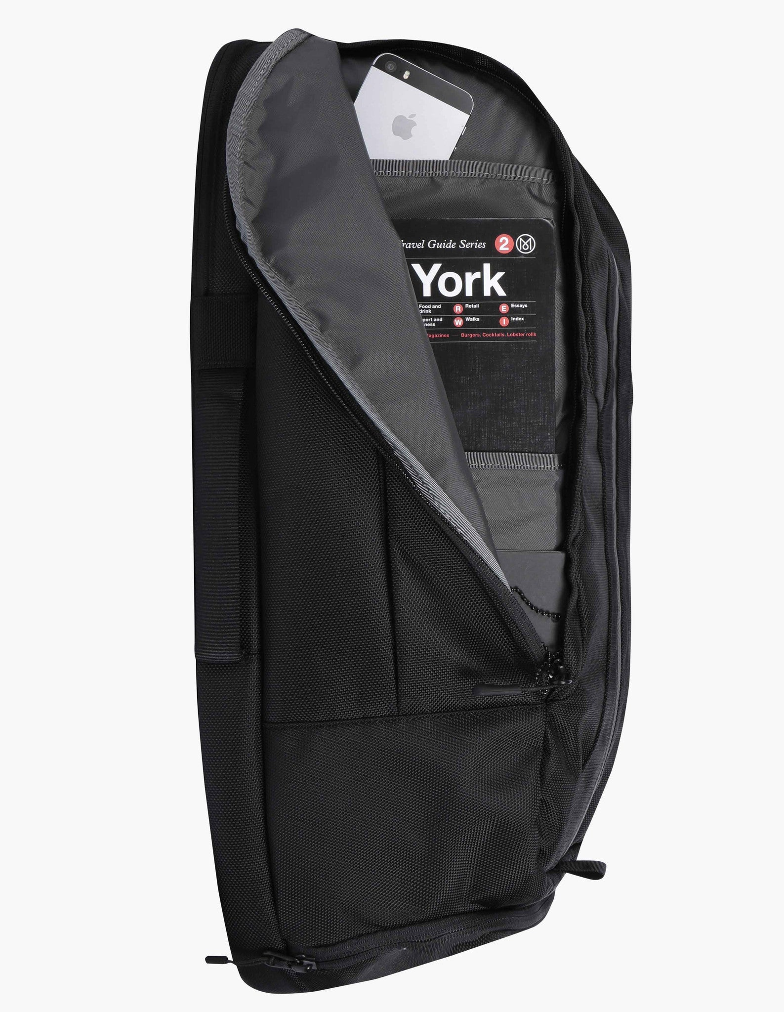 Side pocket of black Aer Duffel Pack rucksack with YKK zip pocket