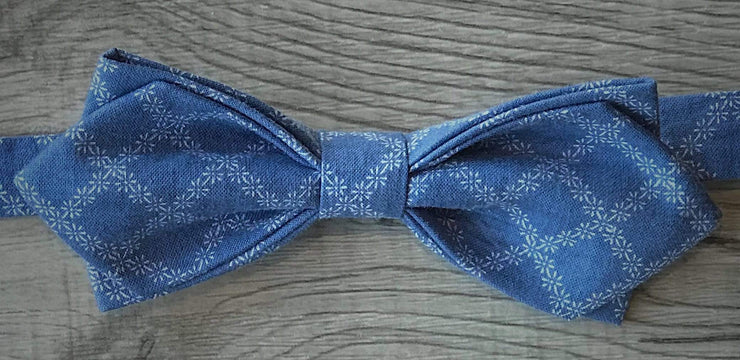 Anatoly's Bowtie Blue Check Pointed Bow Tie