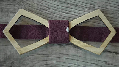 Anatoly's Bowtie Burgundy with White Spot Wooden Bow Tie