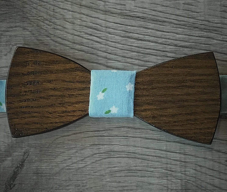 Anatoly's Bowtie Light Blue Print Wooden Bow Tie